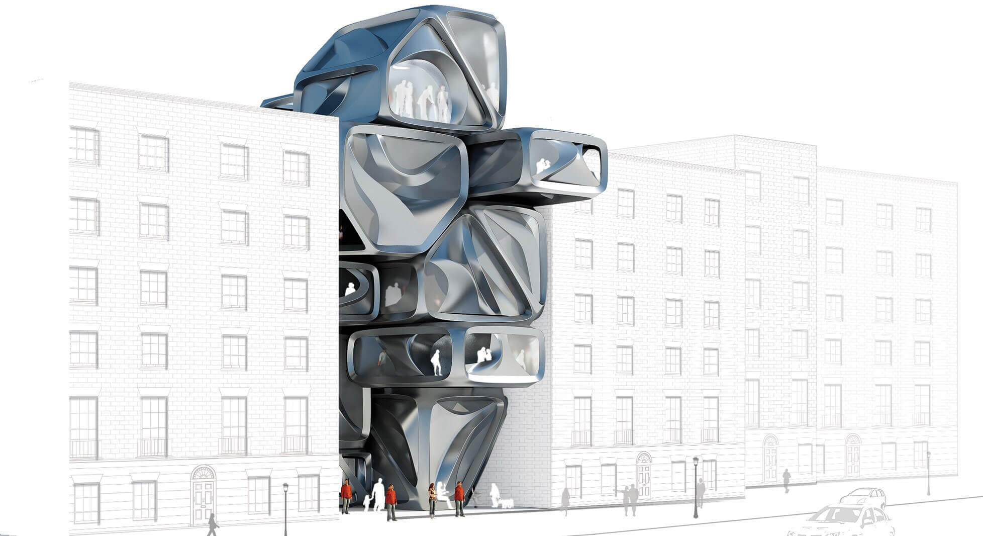 3D illustration of made-to-order housing of the future that promotes communal living