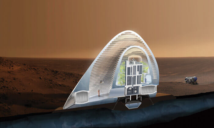 Project Mars Ice House rendering highlighting applications of robotics in architecture