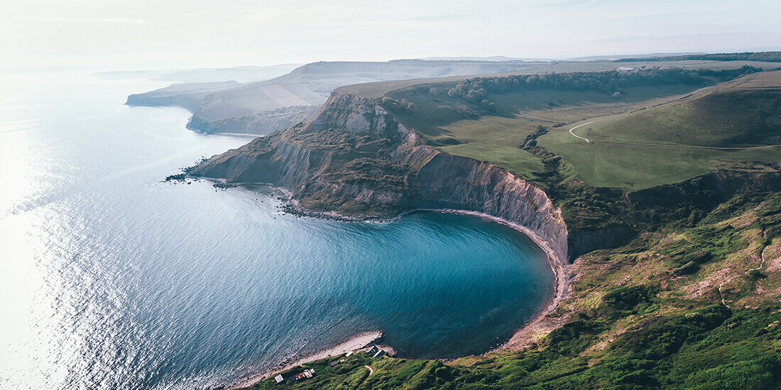 The Dorset coastline on the south coast of England.