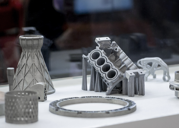 A selection of metal 3d-printed objects