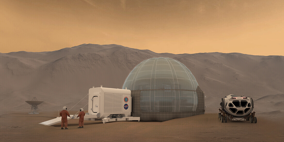 robots in architecture Project Mars Ice House rendering