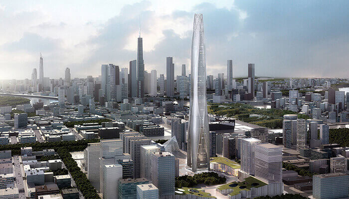 The Tianjin Tower will stand 103 stories high.