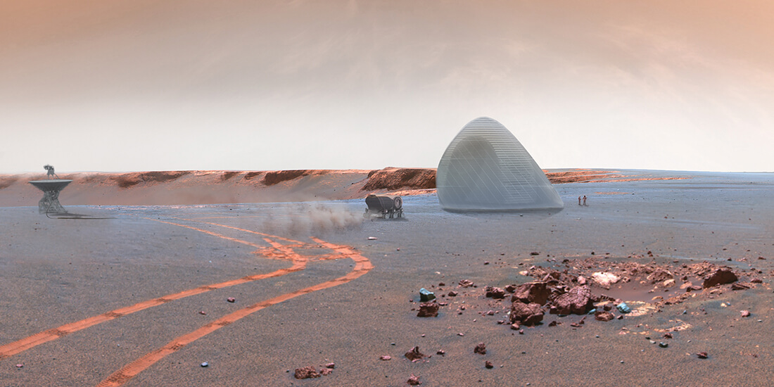 Rendering of Mars Ice House concept, highlighting a potential future use robotics in architecture