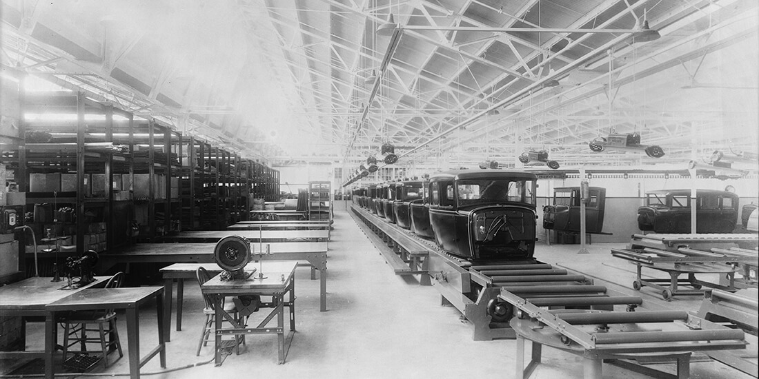 Early assembly line automation at the Ford Motor Company's Long Beach plant in 1930.