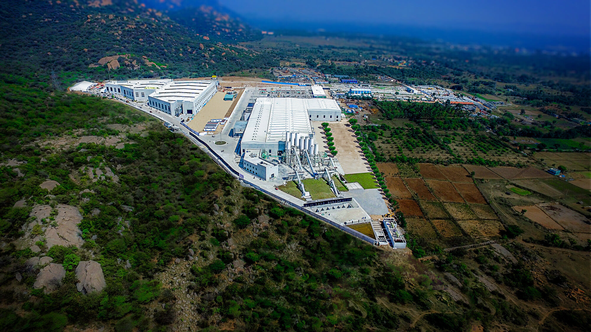 Aerial view of At KEF Infra's prefabrication and modular construction plant in Krishnagiri, India.