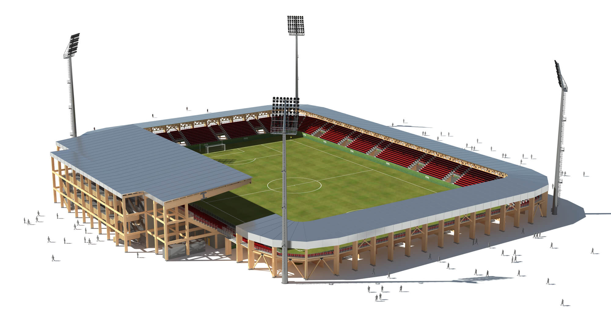 A rendering of a 10,000-seat modular stadium using Bear Stadiums and Rubner Holzbau's modular wood systems.