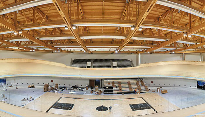 The wood roof of Portugal's National Velodrome at Sangalhos, Anadia, build using modular stadium construction.