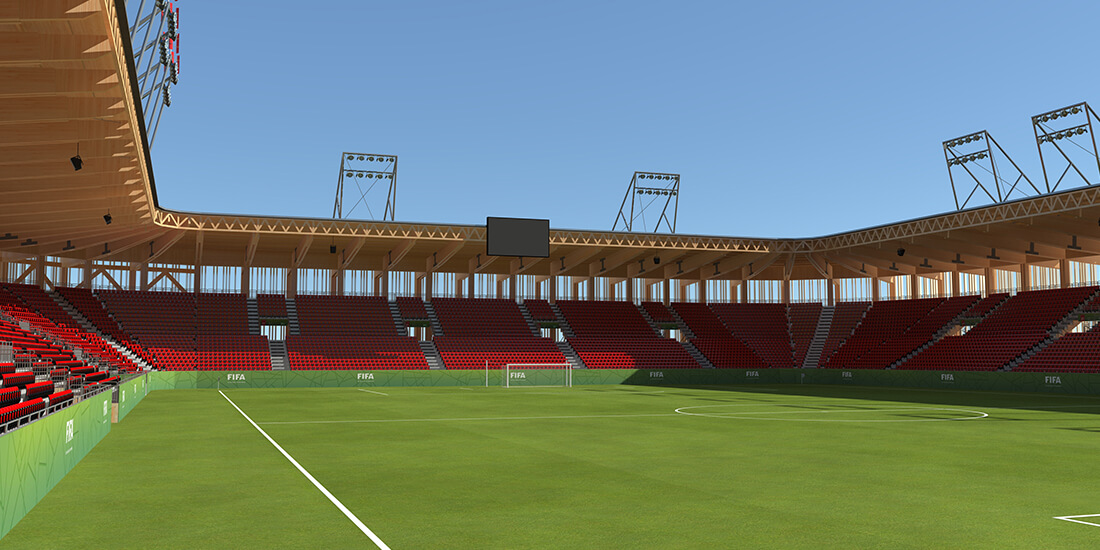 A rendering of a modular wood stadium constructed using Bear Stadiums systems.