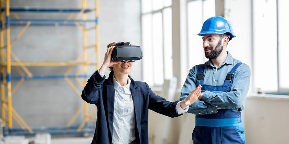 Woman using VR for construction on jobsite