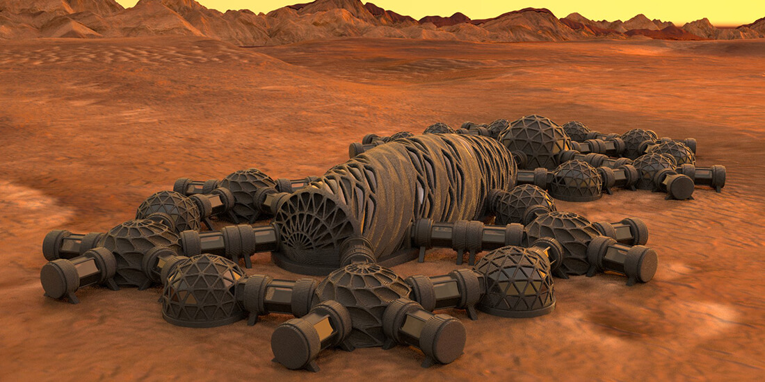 Image of what structures on Mars built with local materials might look like.