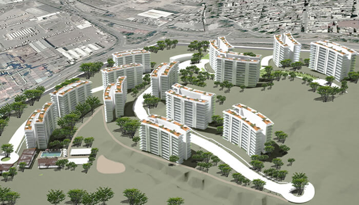 A model of the 1,001-unit Vendaval low-income housing complex in Ecatepec, Mexico.