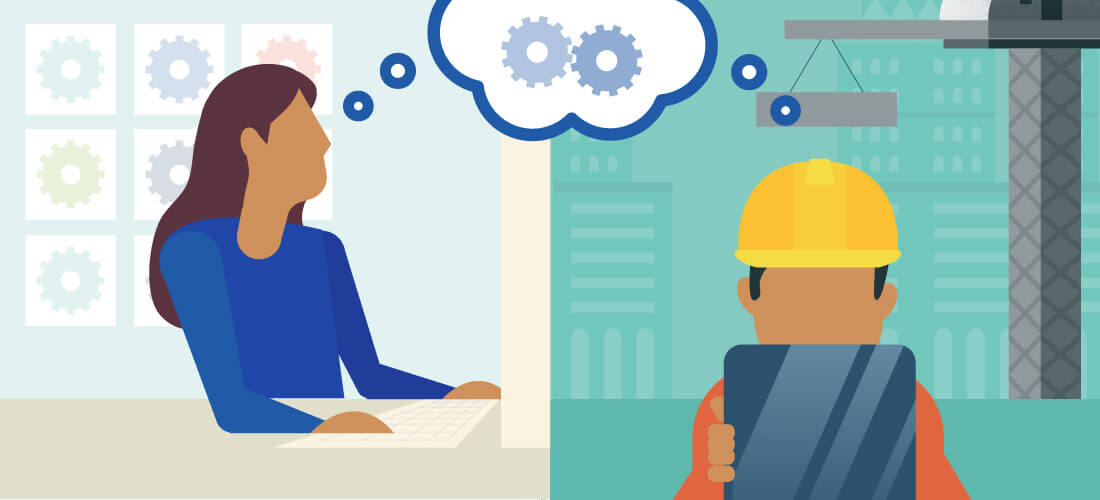 Illustration depicting an office worker and construction worker accessing project data .