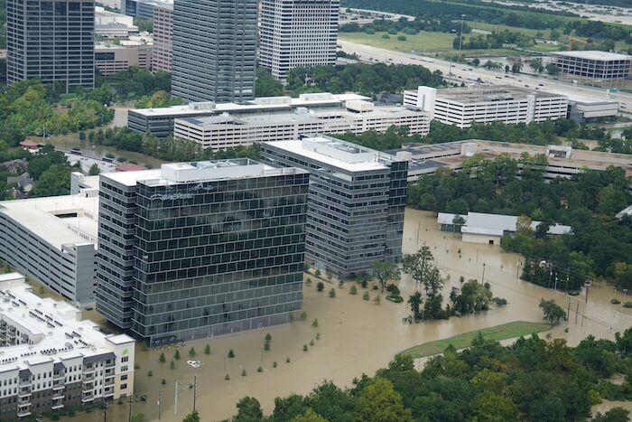 An aerial view of Houston after the 2017 flooding from Hurricane Harvey.