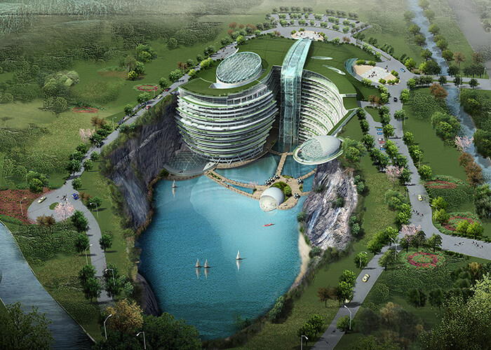 Shanghai's Songjiang Hotel, which is being built in an abandoned quarry.