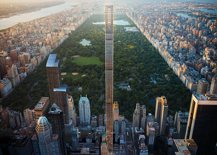 The slender new residential tower at 111 West 57th Street in New York City, which overlooks Central Park.
