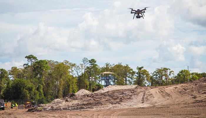 A PCL drone maps landscape contours to help contractors manage runoff.