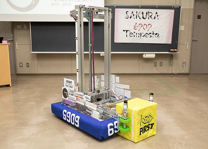 The robot built by SAKURA Tempesta for the FIRST Power Up competition.
