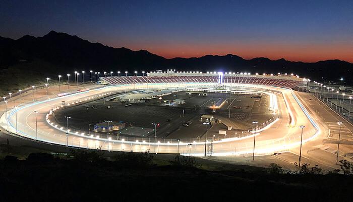 racetrack design ism raceway nighttime