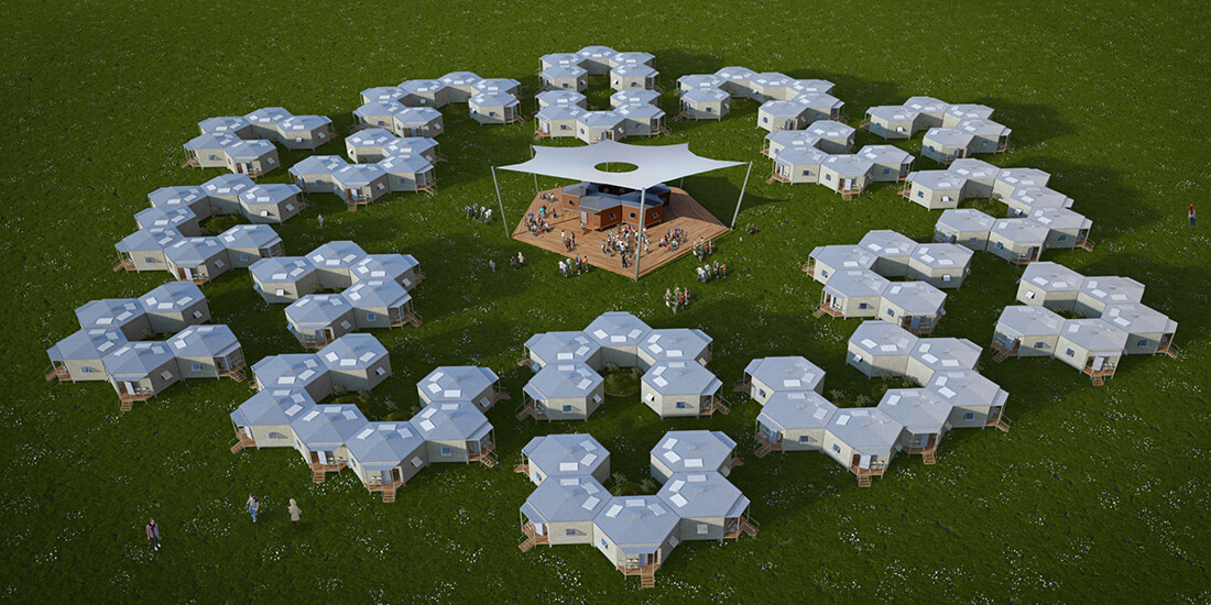 shelter design hex house