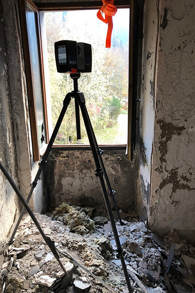 reality capture atff scanning a burned building