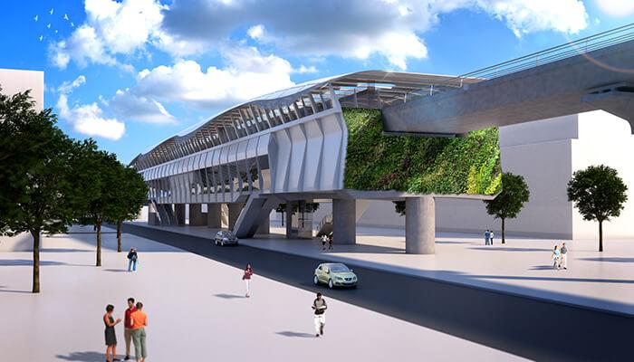 urban transportation planning open air station bogota metro
