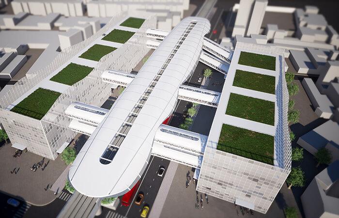 urban transportation planning bogota metro aerial view