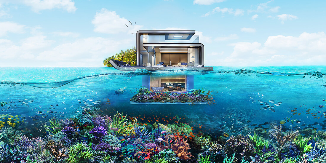 underwater architecture floating seahorse villas dubai