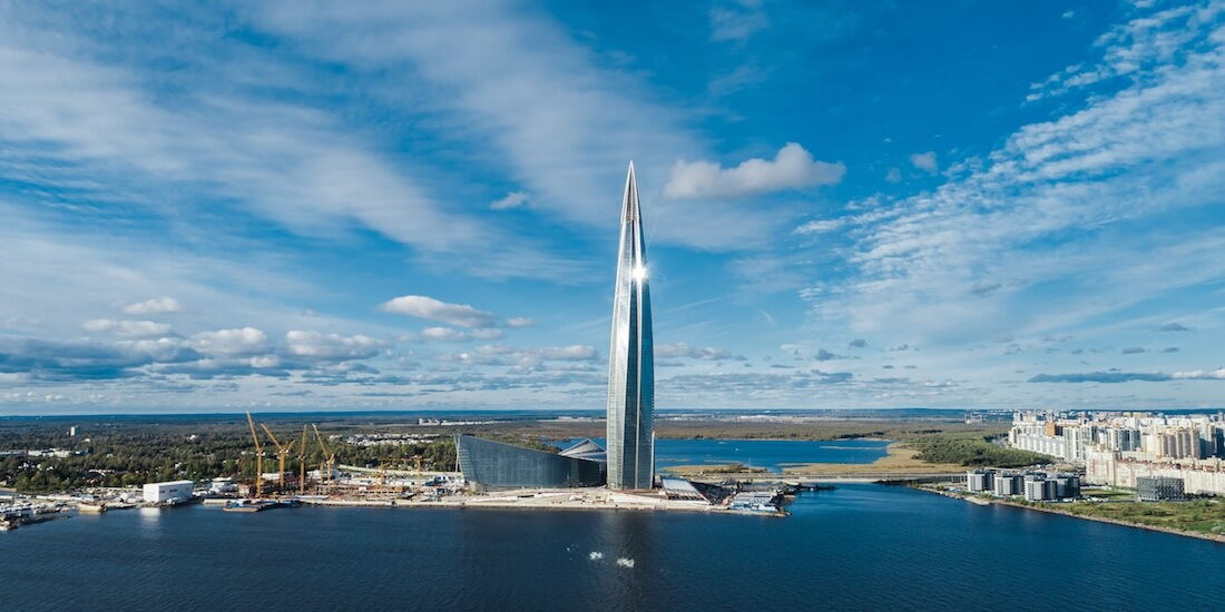 earth day 2019 Lakhta Center Tower in Saint Petersburg Russia