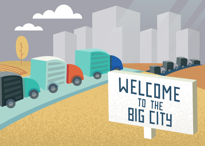future of manufacturing welcome to the big city sign