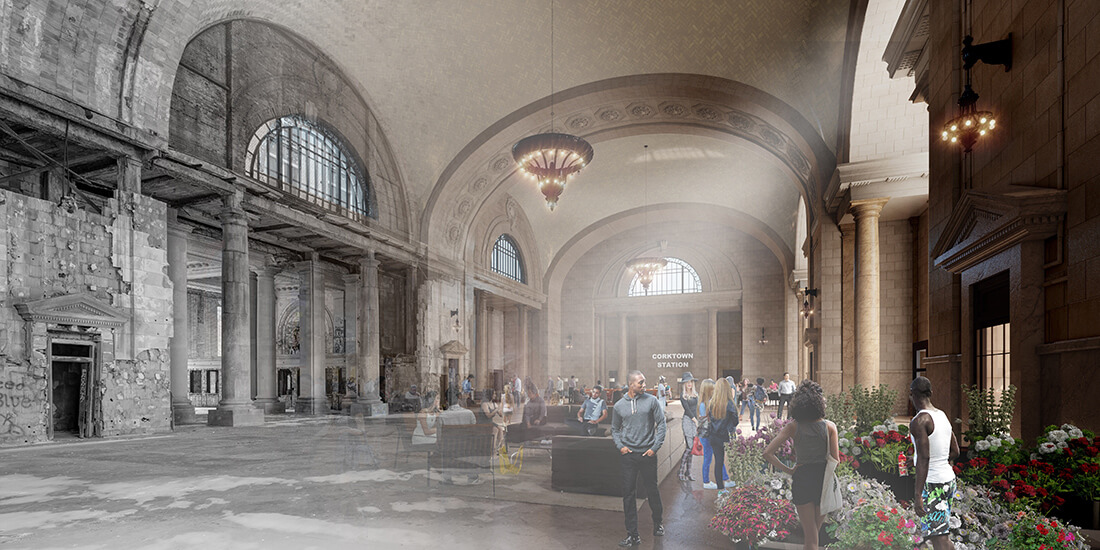 adaptive reuse Ford's Michigan Central Station Campus rendering