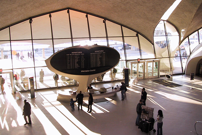 Entrance to JFK Airport TWA terminal shot from inside