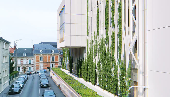 green renovation rendering west facade after cder building
