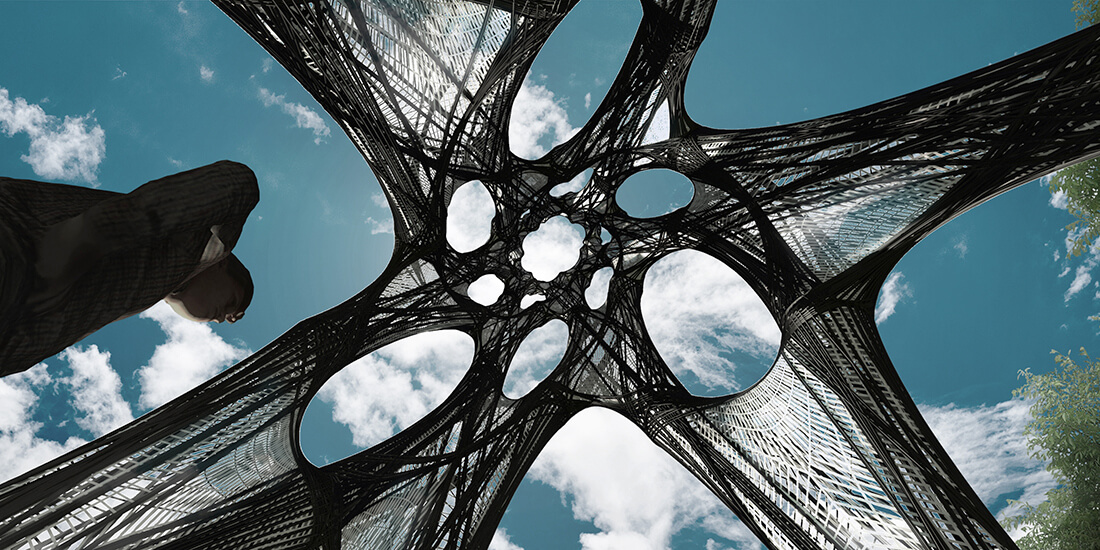 composite building materials rendering of Filament Tower