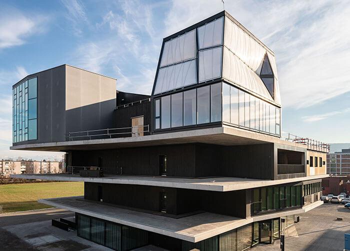 futuristic building dfab house