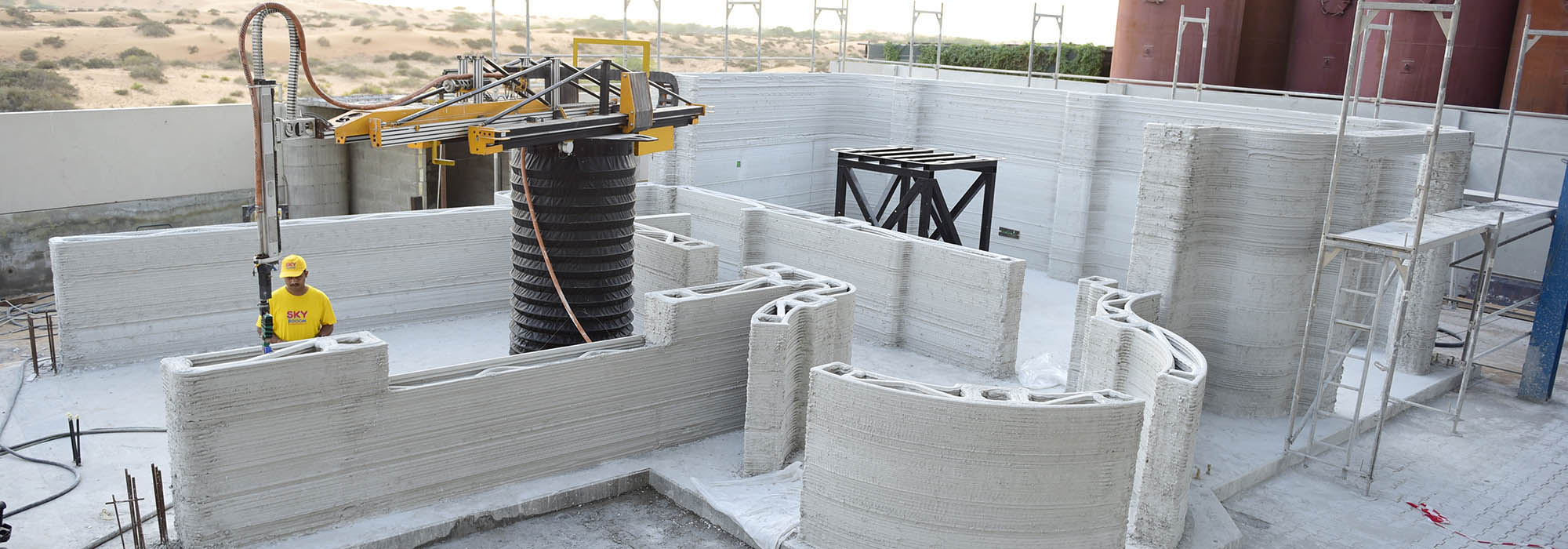 3d printing building construction structure takes shape