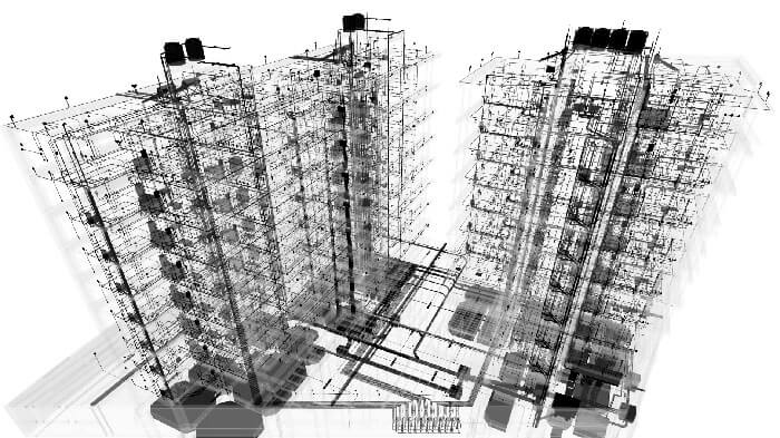 earthquake architecture 3D digital model of the Calle Pacifico 223 buildings