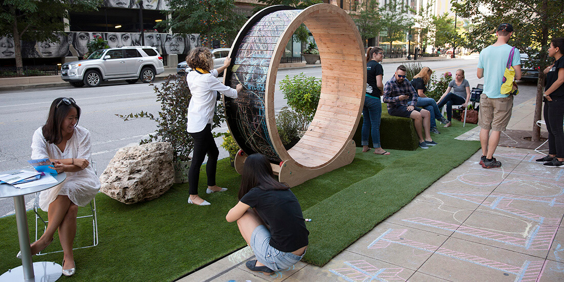 coronavirus city planning popup parklet chicago human hamster wheel