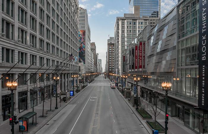 coronavirus city planning chicago state street during pandemic