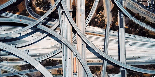 highway interchange aerial view