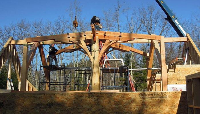 mass timber building hybrid log frame