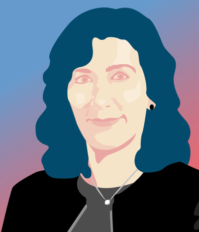 Illustrated portrait of Autodesk CMO Lisa Camptell