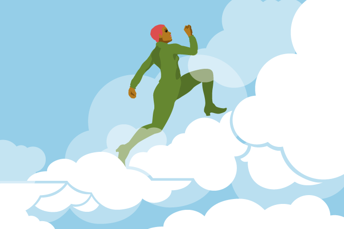 Illustration of woman in green suit racing up a cloud