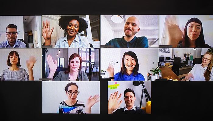 Virtual team meeting with 10 attendees visible in screenshot