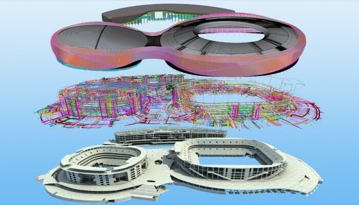 bim process model of building structure and mep curtain phoenix sports arena