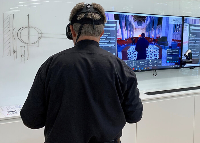 digital collaboration person using vr