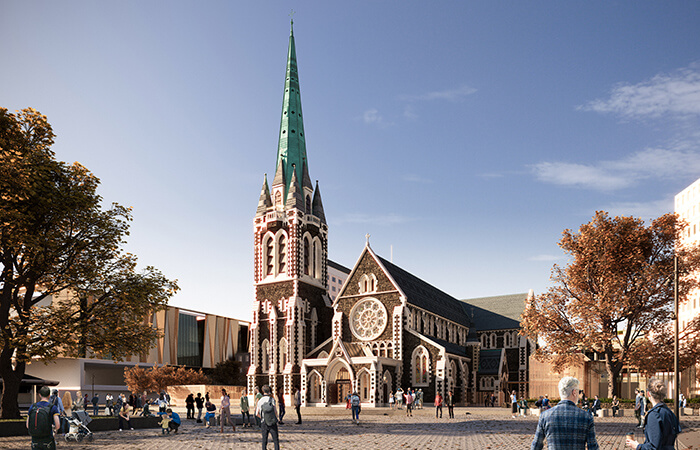 digital collaboration rendering of the revitalized christ church cathedral