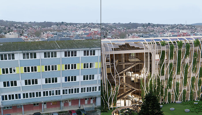 low-carbon development can take the form of a retrofit of an old building, like this OuyOut project in France.