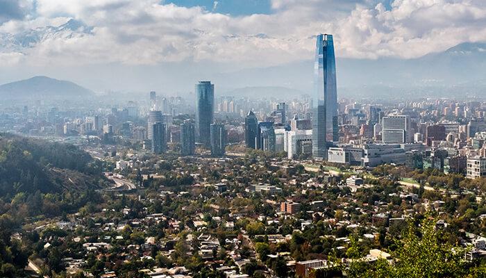 An image of the Santiago, Chile skyline illustrates progress made through global BIM policies.