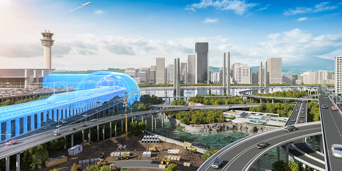 Image of technology-forward city skyline illustrates the advantages of implementing global BIM policies