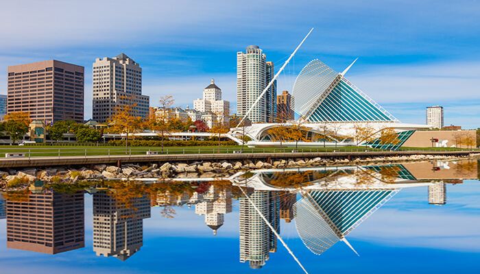 Image of the Milwaukee, Wisconsin skyline. Wisconsin was the first US state to implement global BIM mandates.